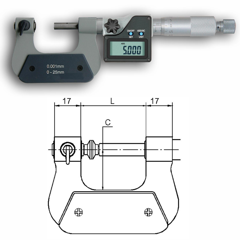 Gewindemikrometer digital 0-200mm ohne, mit Gewindeeinsätze.