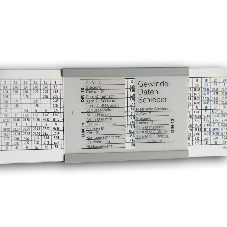 Gewindetabelle f r metrische und whitworth gewinde kaufen for Tabelle gewinde